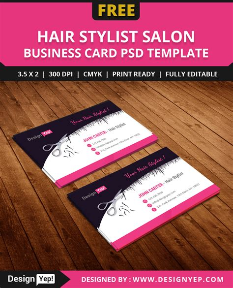 free hair stylist salon business card template psd designyep