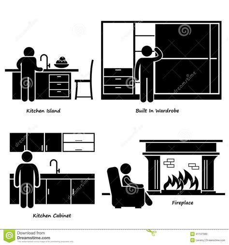 hhome house built  furniture cliparts stock vector
