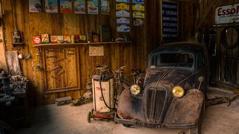 wallpaper computer shop old car repair shop cars desktop hd wallpaper