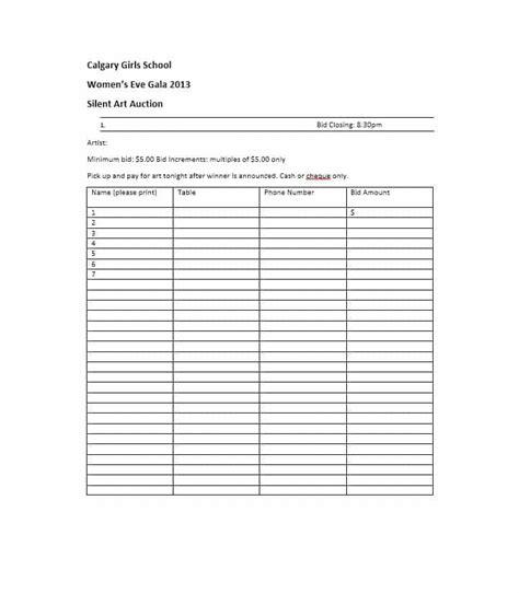 silent auction bid sheet template download free premium