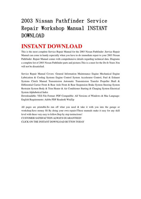 best auto repair manual 2003 nissan pathfinder electronic throttle control 2003 nissan pathfinder service repair workshop manual instant download by jhshemfnse issuu