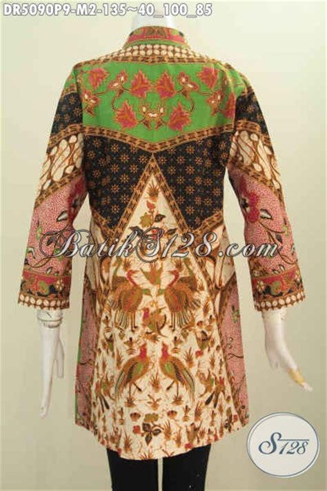 Baju Khas Semarang jual dress batik printing model kerah shanghai baju batik halus khas jawa tengah untuk
