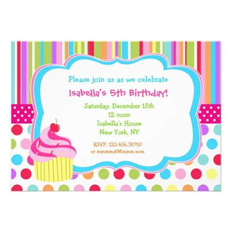 cupcake invitations template rainbow cupcake birthday invitations 5 quot x 7