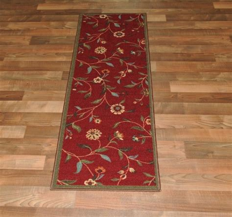 rubber backed runner rugs new garden burgundy floral design rubber backed durable runner rug carpet ebay