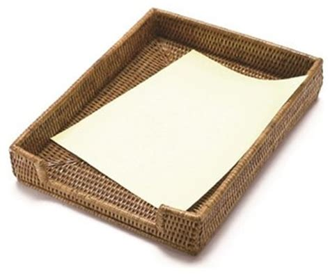 Wicker Desk Accessories Woven Rattan Paper Tray Basket Style Desk Accessories By Artifacts Trading Company