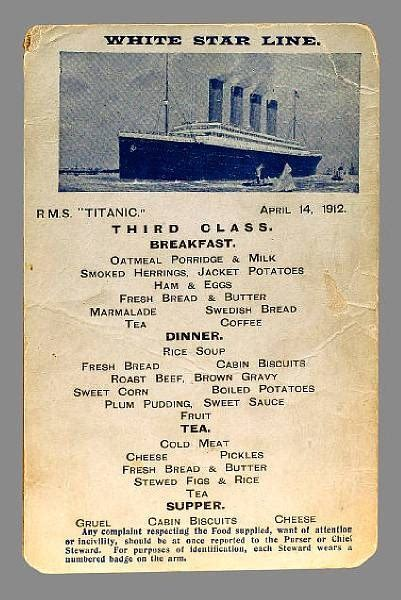 titanic menus third class breakfast menu 171 the titanic one century later