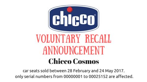 chicco car seat recall chicco cosmos car seat voluntary recall announcement a