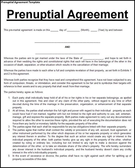 Screenwriter S Prenuptial Agreement Script Gods Prenup Template Free