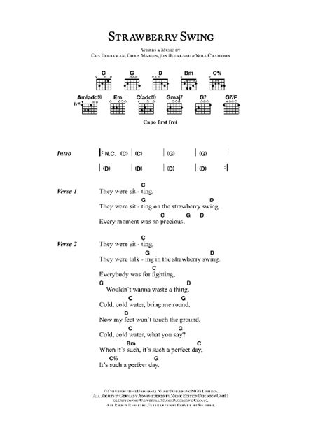 strawberry swing ukulele coldplay strawberry swing sheet music at stanton s