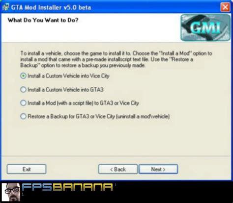 x mod game installer gta mod installer v5 0 beta grand theft auto vice city