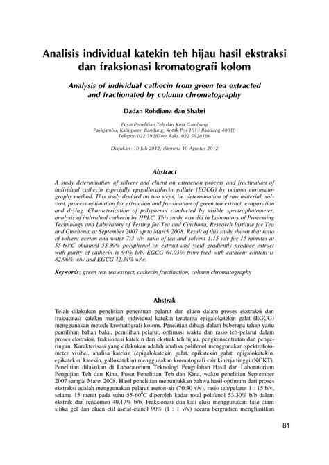 Teh Hijau Katekin analisis individual katekin teh hijau hasil ekstraksi dan