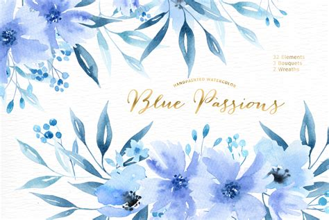 blue passions watercolor clipart by everysunsun