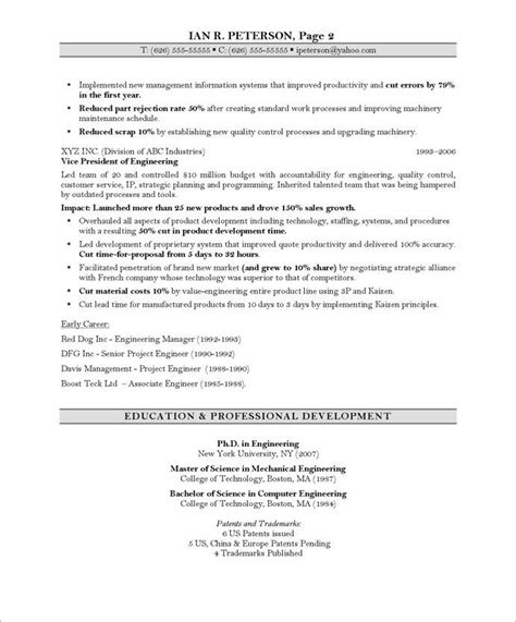 chief technology officer page2 it resume sles