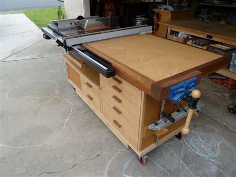 table saw bench phil s tablesaw work station the wood whisperer