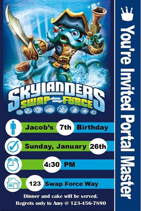 1000 Images About Party Ideas On Pinterest Birthday Party Invitations Kid And Home Skylanders Birthday Invitations Template