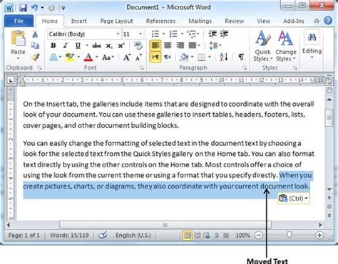 tutorialspoint ms word move text in word 2010