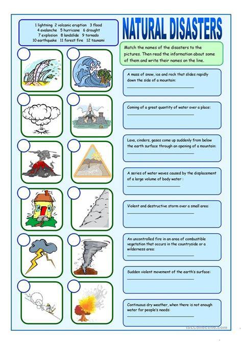 natural disasters matching exercises worksheet free esl