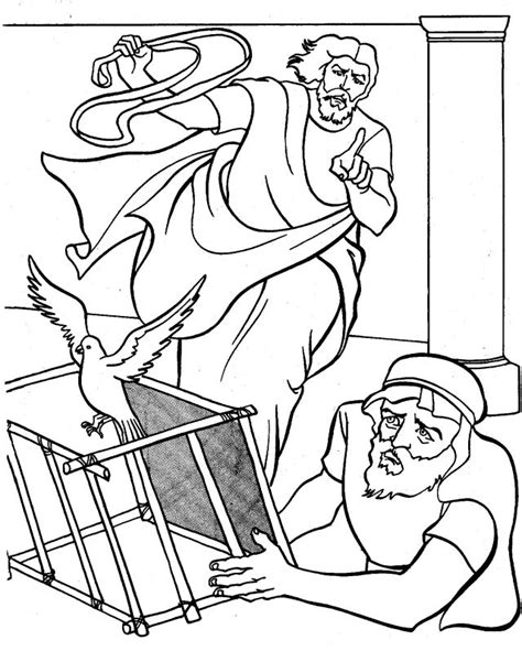 Jesus Clears The Temple Coloring Page jesus cleanses the temple