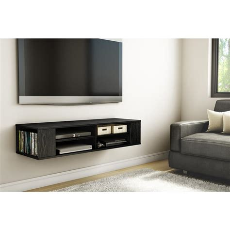 south shore city wall mounted media console in black oak south shore city 50 disk capacity wall mounted media