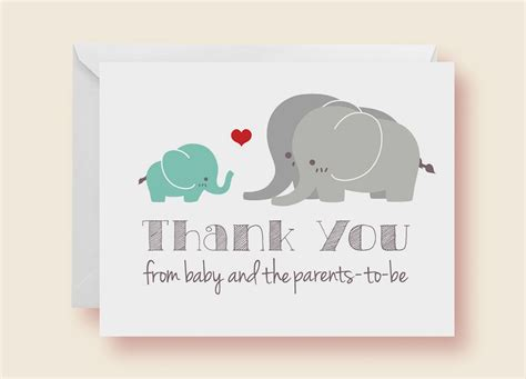 Thank You Gift Card Baby Shower - buy hand crafted gender neutral elephant baby shower thank you cards made to order