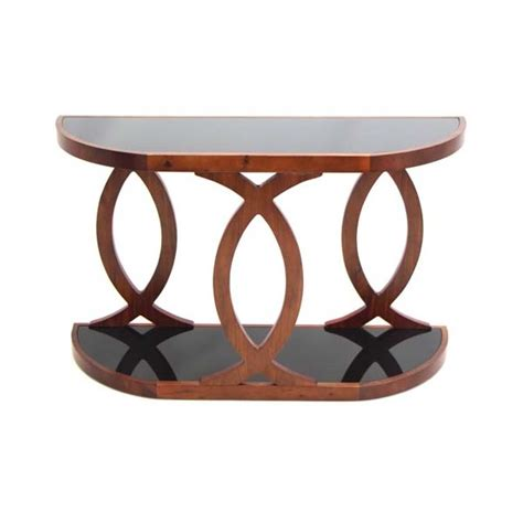 bentwood walnut sofa table lumisource pesce bent wood and black glass console table