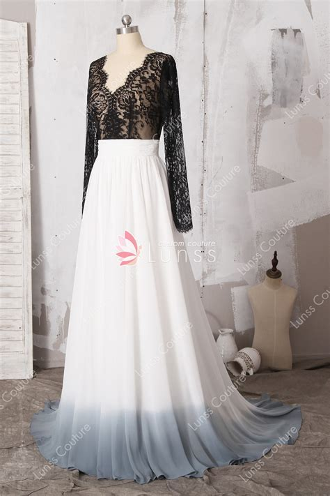 Two piece Chiffon Rustic Wedding Dress Long Sleeves