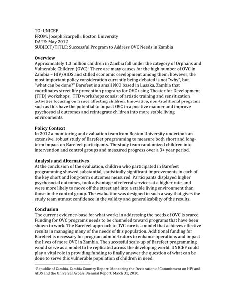 Public Health Resume Sample by Policy Memo Joseph Scarpelli Mph