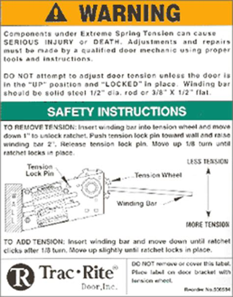garage door warning label stock safety guidelines trac rite