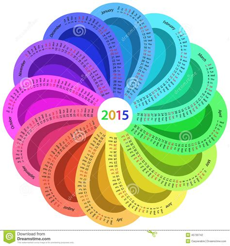 round calendar for 2015 stock vector image 45730742