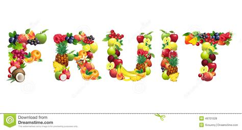 fruit 3 letter words word fruit composed of different fruits with leaves stock