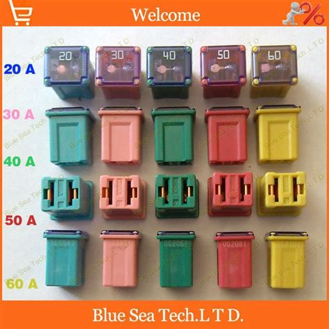 Car Fuse Types by 5 Models 5pcs 20a To 60a Original Rectangle Small Type