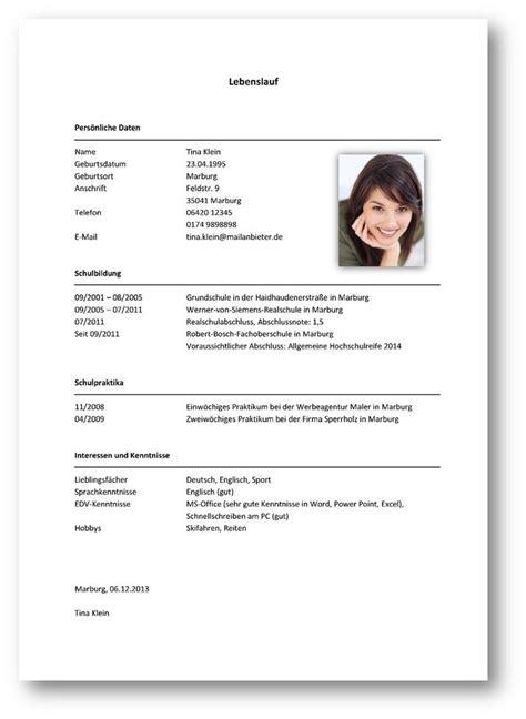 Lebenslauf Muster Student Für Praktikum Lebenslauf Praktikum Sch 252 Ler Yournjwebmaster