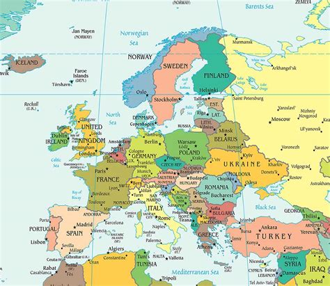 europe map all countries map of europe free large images