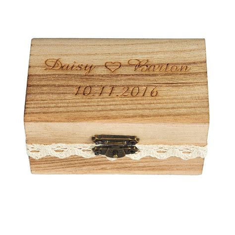 personalized engraved wedding rustic bearer box wooden