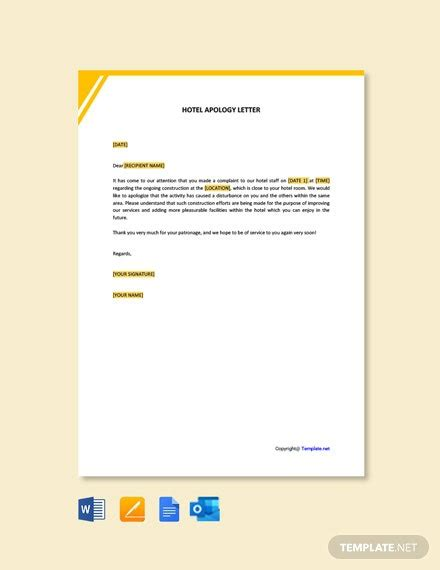 hotel apology letter construction samples templates