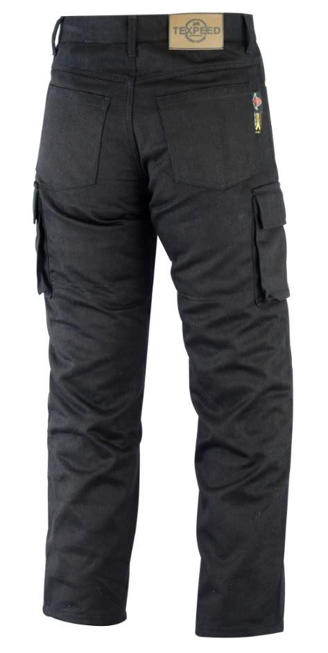 Motorrad Jeans Cargo by Mens Black 6 Pocket Protective Reinforced Motorcycle Biker