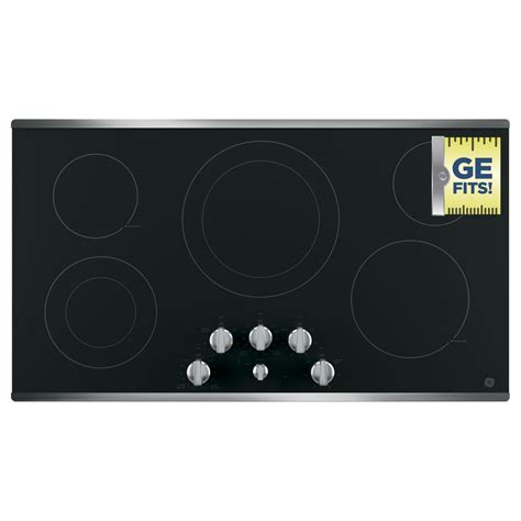 stainless steel cooktop electric ge 36 in radiant electric cooktop in stainless steel with