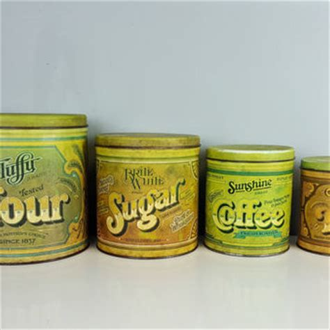 vintage kitchen canisters orange coffee sugar tin canisters best tea and coffee canisters products on wanelo