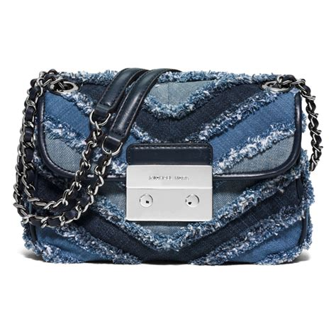 Mk Sloan Multi Denim michael michael kors s sloan small denim crossbody bag multi blue