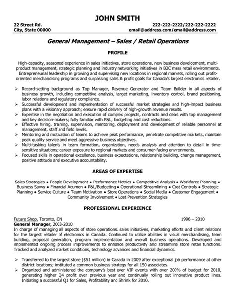 Resume Sles General Manager Operations General Sales Manager Resume Template Premium Resume Sles Exle