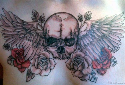 skull with wings tattoo 70 stunning skull tattoos on chest