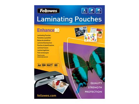 100 Mat Packs by Fellowes Laminating Pouches Enhance 80 Micron Pack De