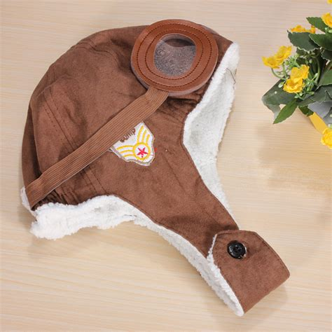 Best Quality Baby Pilot Hat cool baby toddler boy pilot aviator warm cap hat beanie black brown us 6 68