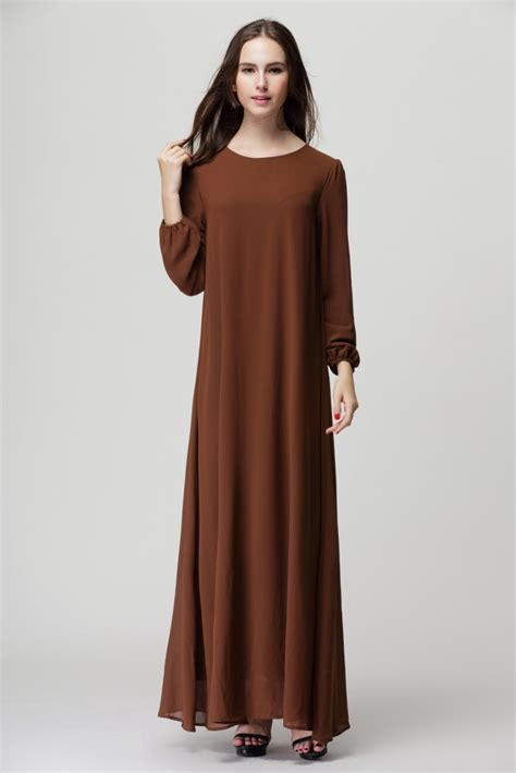 muslim robes dresses sleeved thin waistband maxi