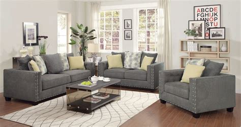 Coaster Furniture Kelvington Charcoal Grey Fabric Living Gray Living Room Furniture Sets