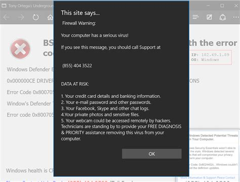 edge virus warning neowin forums edge frozen with virus warning popup microsoft community