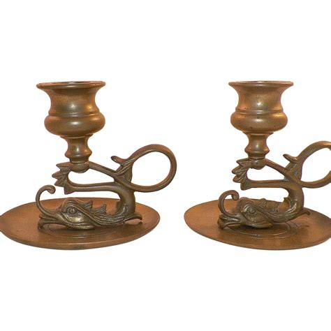 vintage pair of asian brass dragon candle holders from