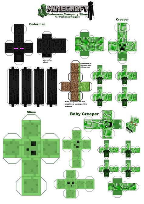 minecraft papercraft creeper printout minecraft