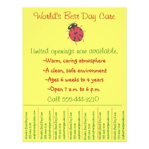 child care flyer day care flyer w tear off info
