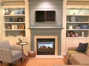 painted mantel with bookcases tv fireplace